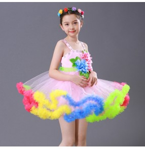 Girls jazz princess modern dance dresses rainbow colored stage performance ballet flower girls show dresses